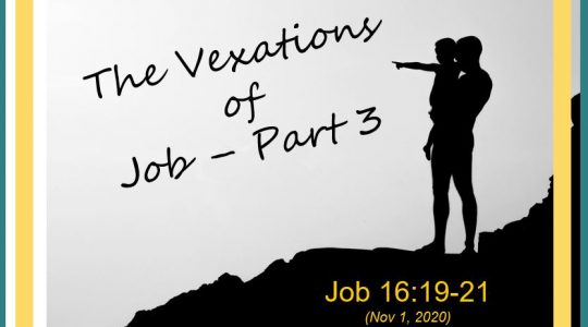 The Vexations of Job Part 3 - Job 16:19-21
