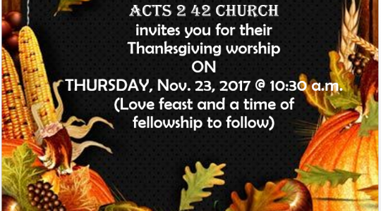 Thanksgiving Worship, Fellowship and Love Feast
